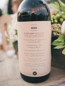 svatební menu na lahvi