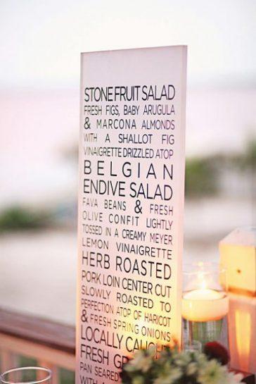 menu na poloprůsvitné destičce