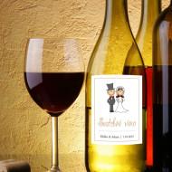 etiketa na víno, nevěsta a ženich