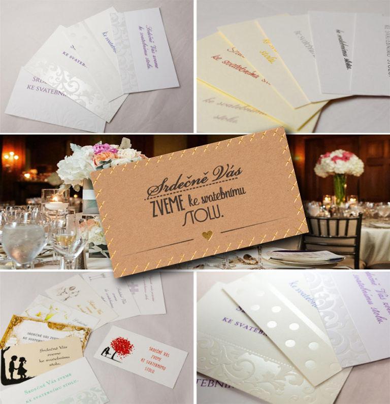 Pozvánky ke svatebnímu stolu ana svatební oslavu