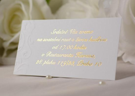 Svatební oznámení se zlatým písmem