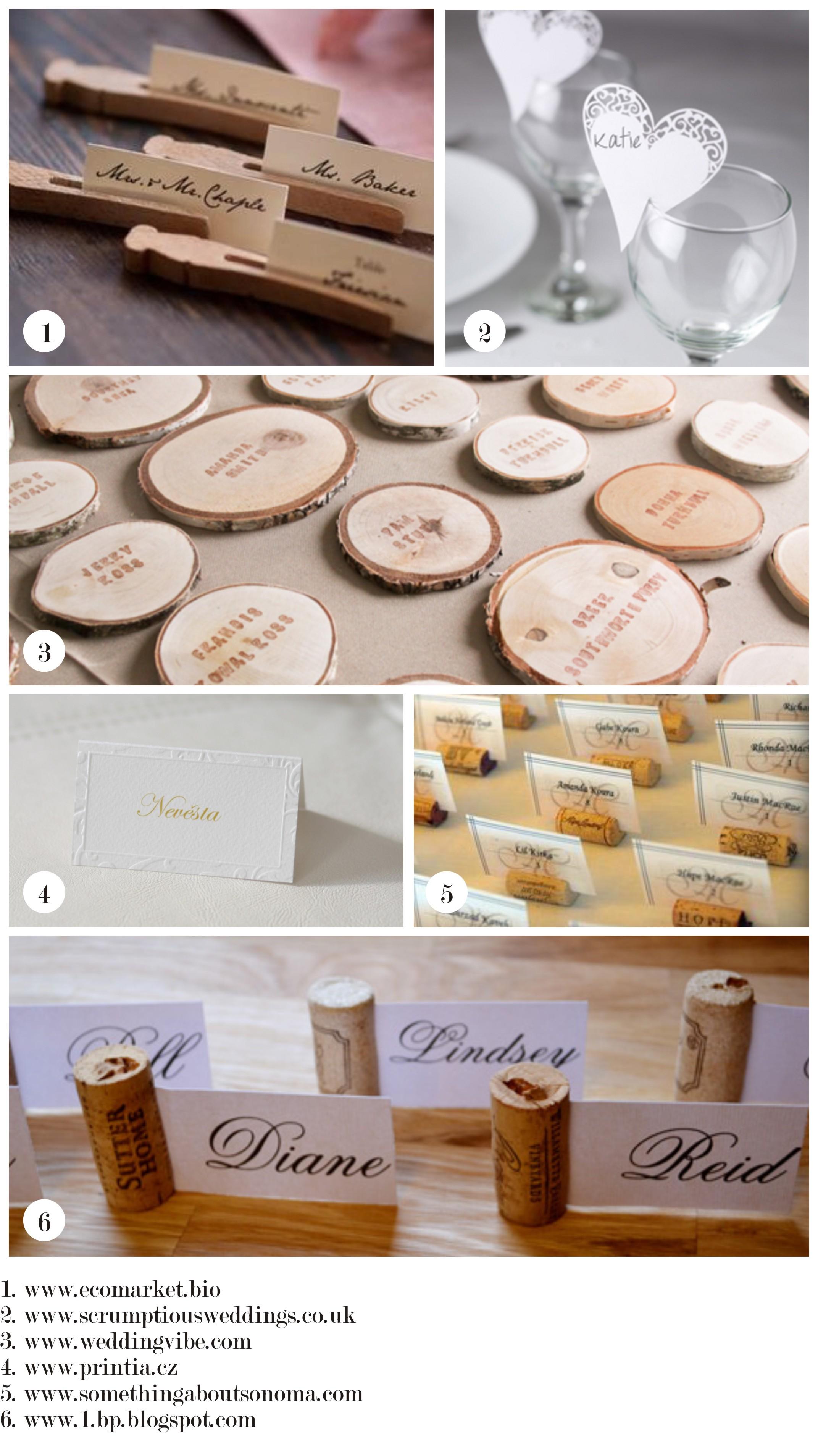 Jmenovky na svatební stůl