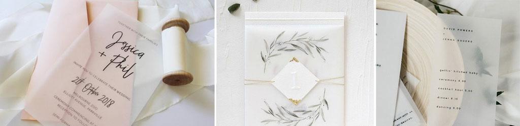 Svatební oznámení spoloprůsvitným (tzv.pauzovým) papírem