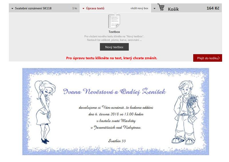 vložení textu na svatební oznámení