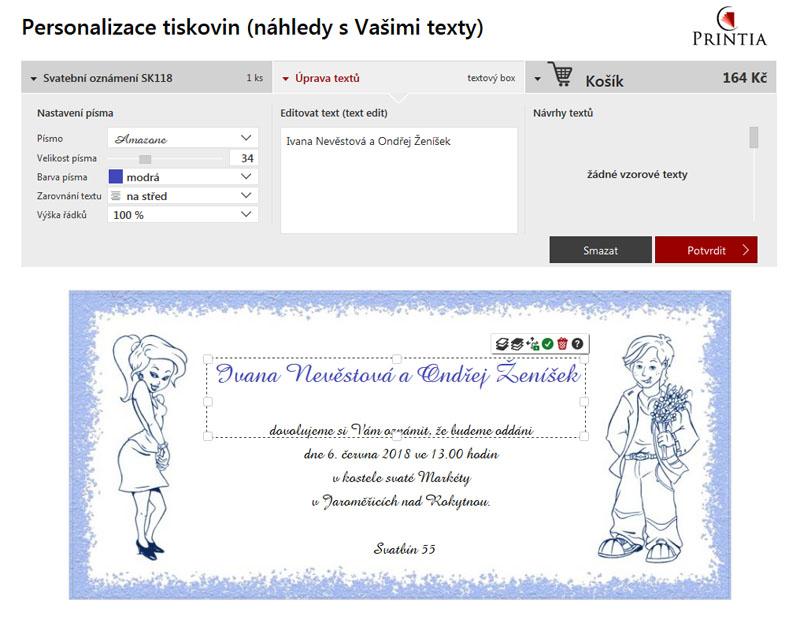 návrh svatebního oznámení online